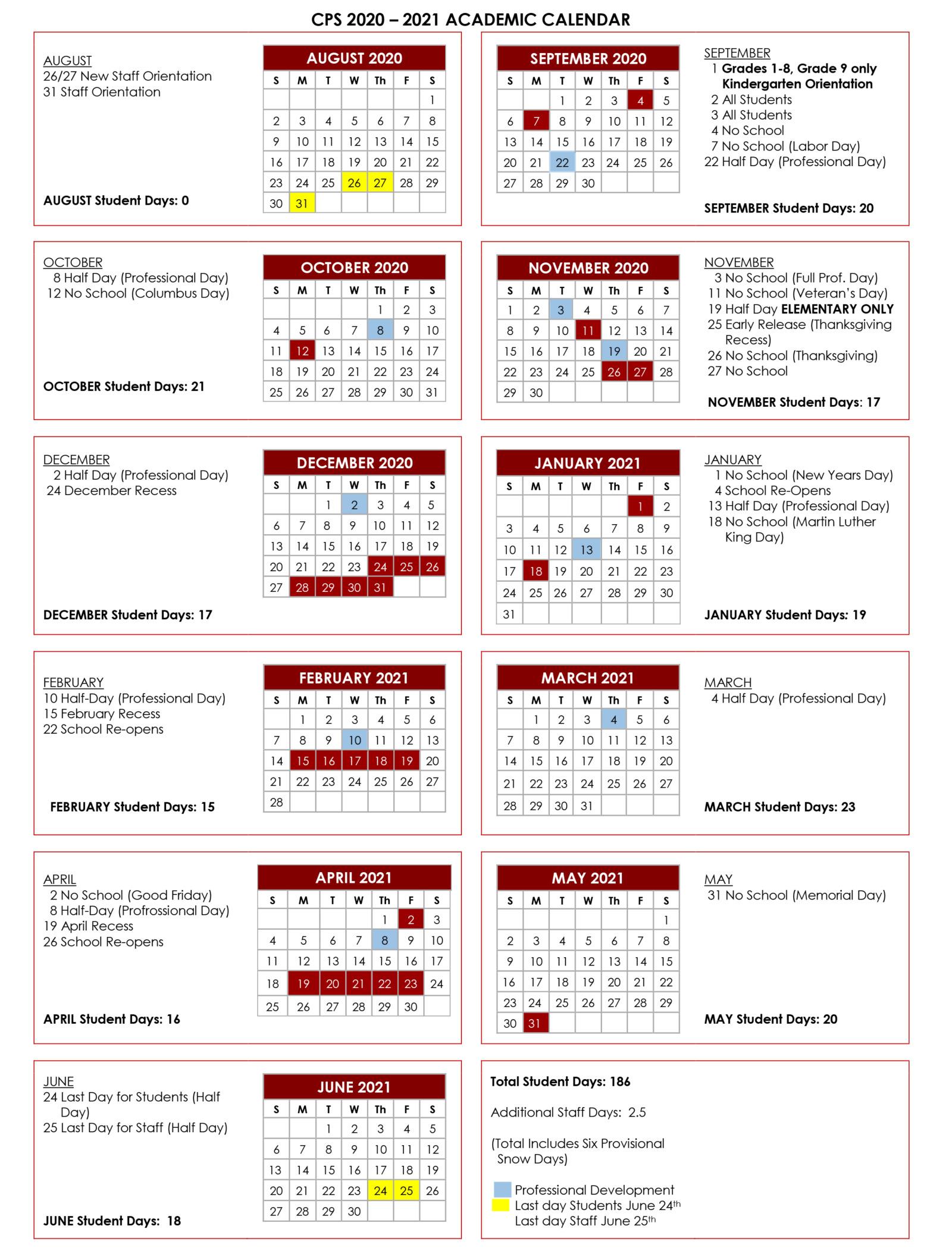 Chelmsford Public Schools Academic Calendar 2020-21-1