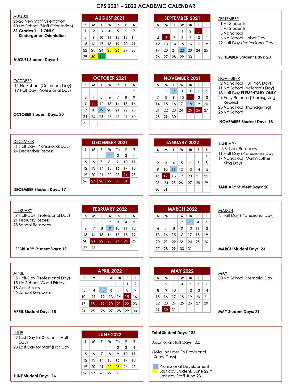 Mcc Calendar 2022.Calendar Chelmsford Public Schools