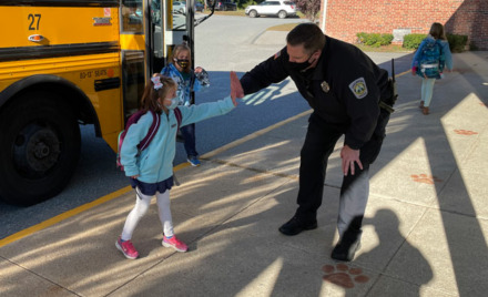 Officer High Five Day at South Row Elementary School
